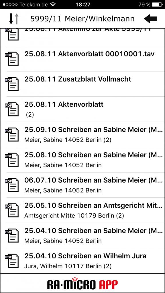 E-Akte Inhaltsverzeichnis. Hier eine Demoakte in der alten App auf meinem Mobiltelefon